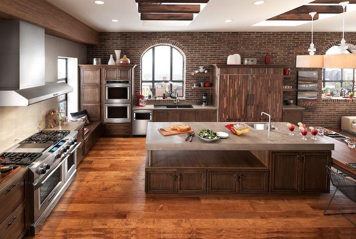 offene Küche mit Wohnzimmer, eine Platte aus Marmor auf der - offene kuche wohnzimmer ideen