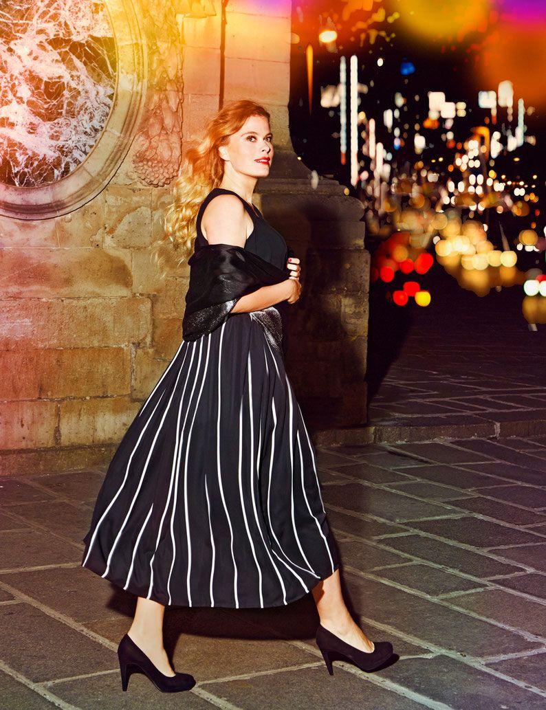 langes Abenkleid XXL , elegante runde Mode , festlicher Look