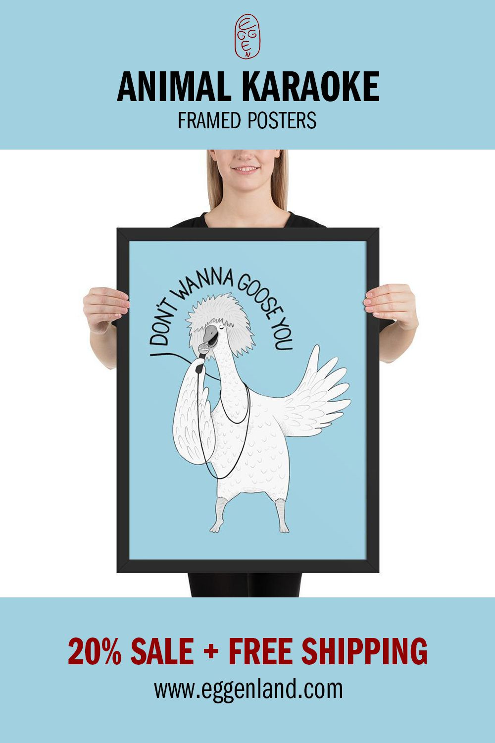 This illustration on poster is a part of Animal Karaoke series. Find more at eggenland.com | #illustrations #drawings #goose  #animals  #funnyanimals #cartoonanimals #cartoon #funnygoose #singinggoose #song #karaoke #music #lyrics #tinaturner #posters #posterforsale #yellow #microphone #drawingeggen #singing #xmas #christmas #gift #giftideas home decor, wall art