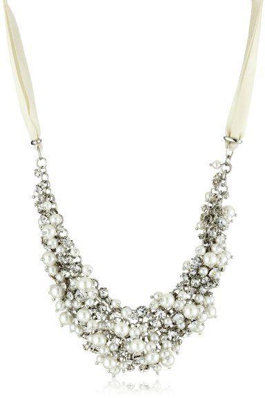 Amazon.com: Nina Bridal Melanie Ivory Glass Pearl and Crystal Necklace: Jewelry