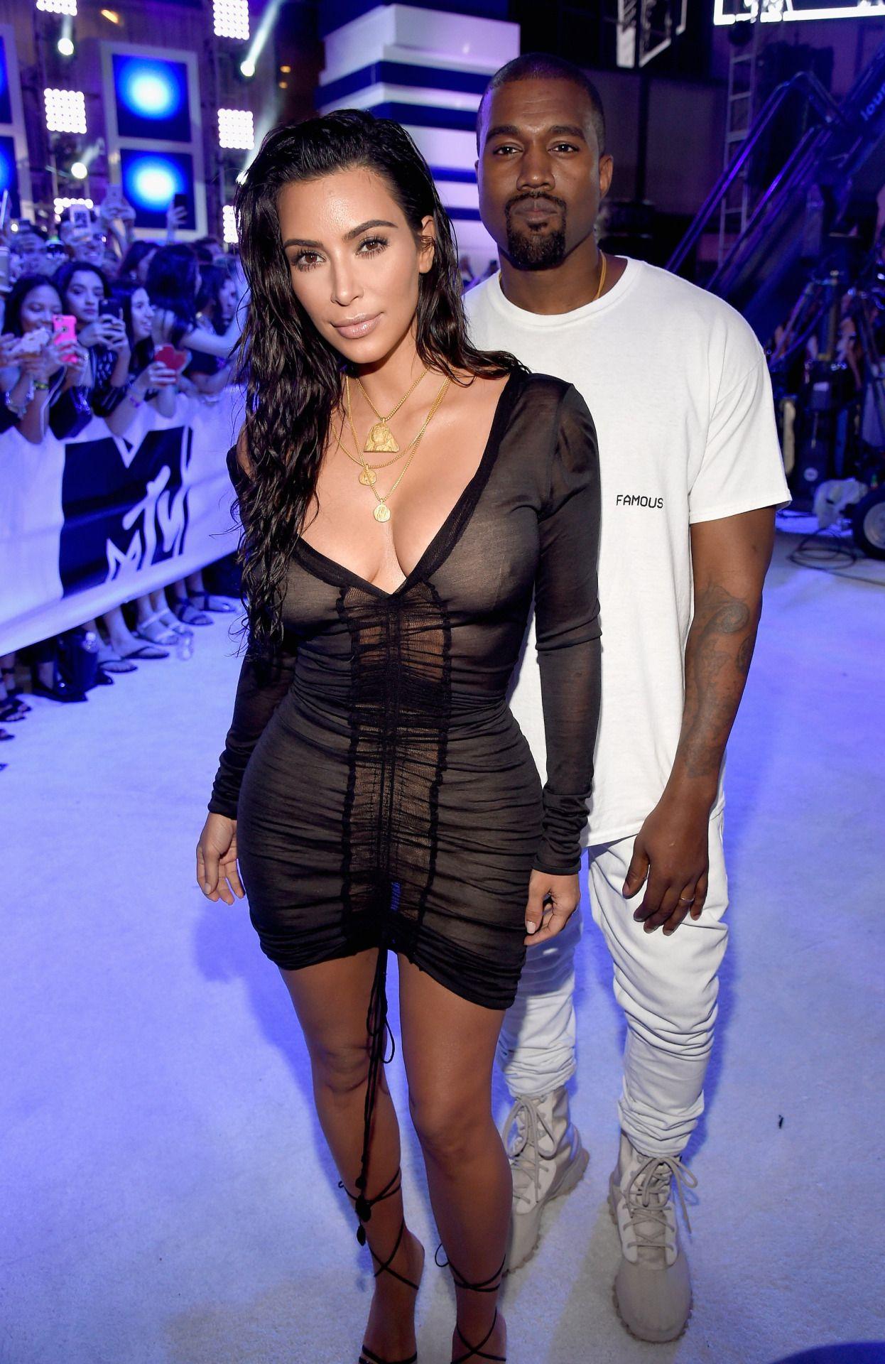 28th August 2016 Kim Kanye At The 2016 Mtv Video Music Awards Sheer Mini Dress Kim Kardashian Show Kim Kardashian And Kanye