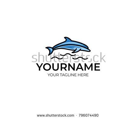 colorful dolphin logo template fish vector design animal