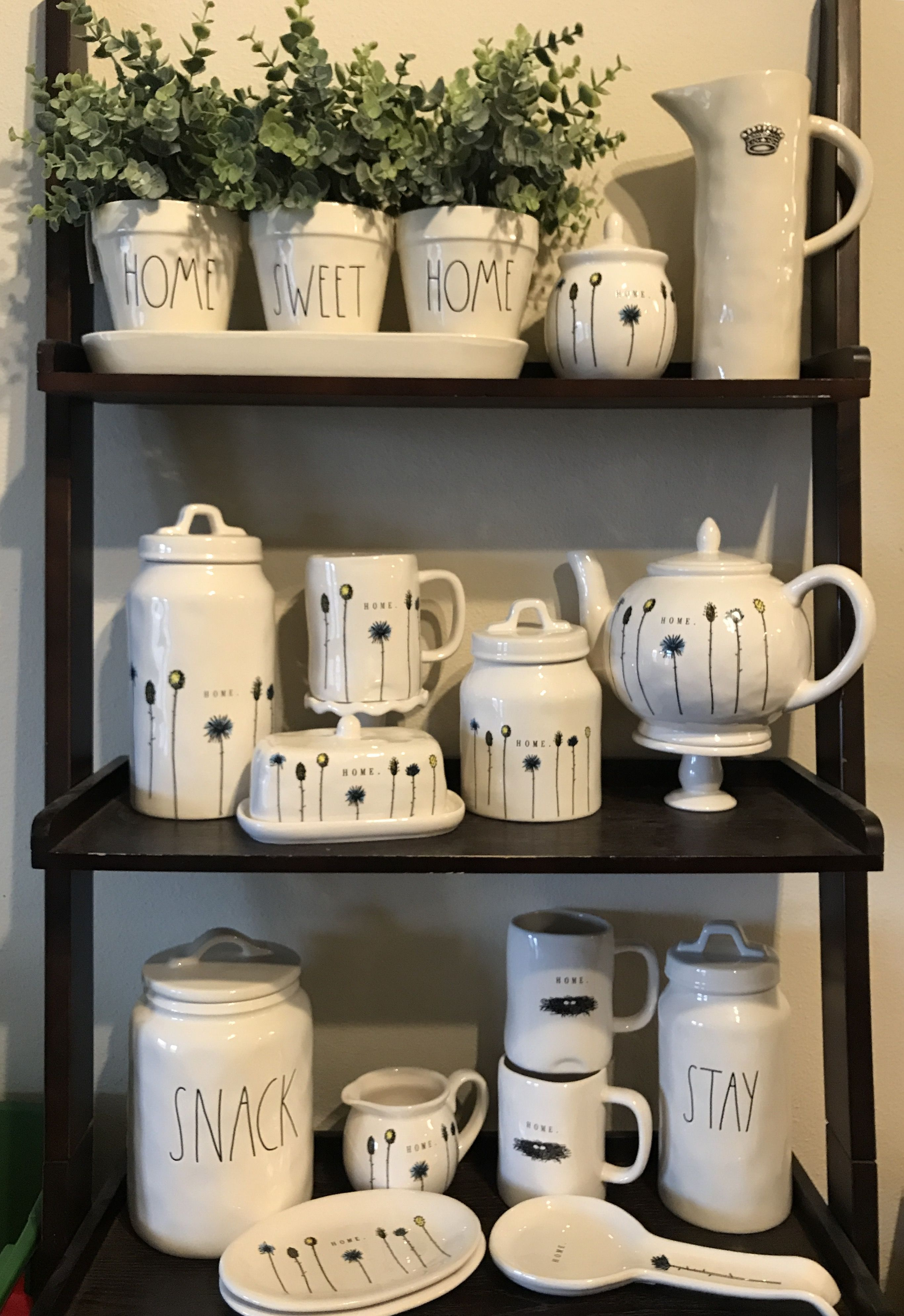 Rae Dunn Home Line Collection Crown Pitcher Snack Canister Home Sweet Home Planter Stay Canister Rae Dunn Collection Rae Dunn Decor Display