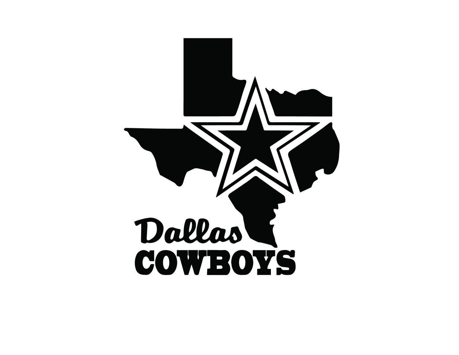 nfl dallas cowboys texas map vinyl decal by andomaking on etsy