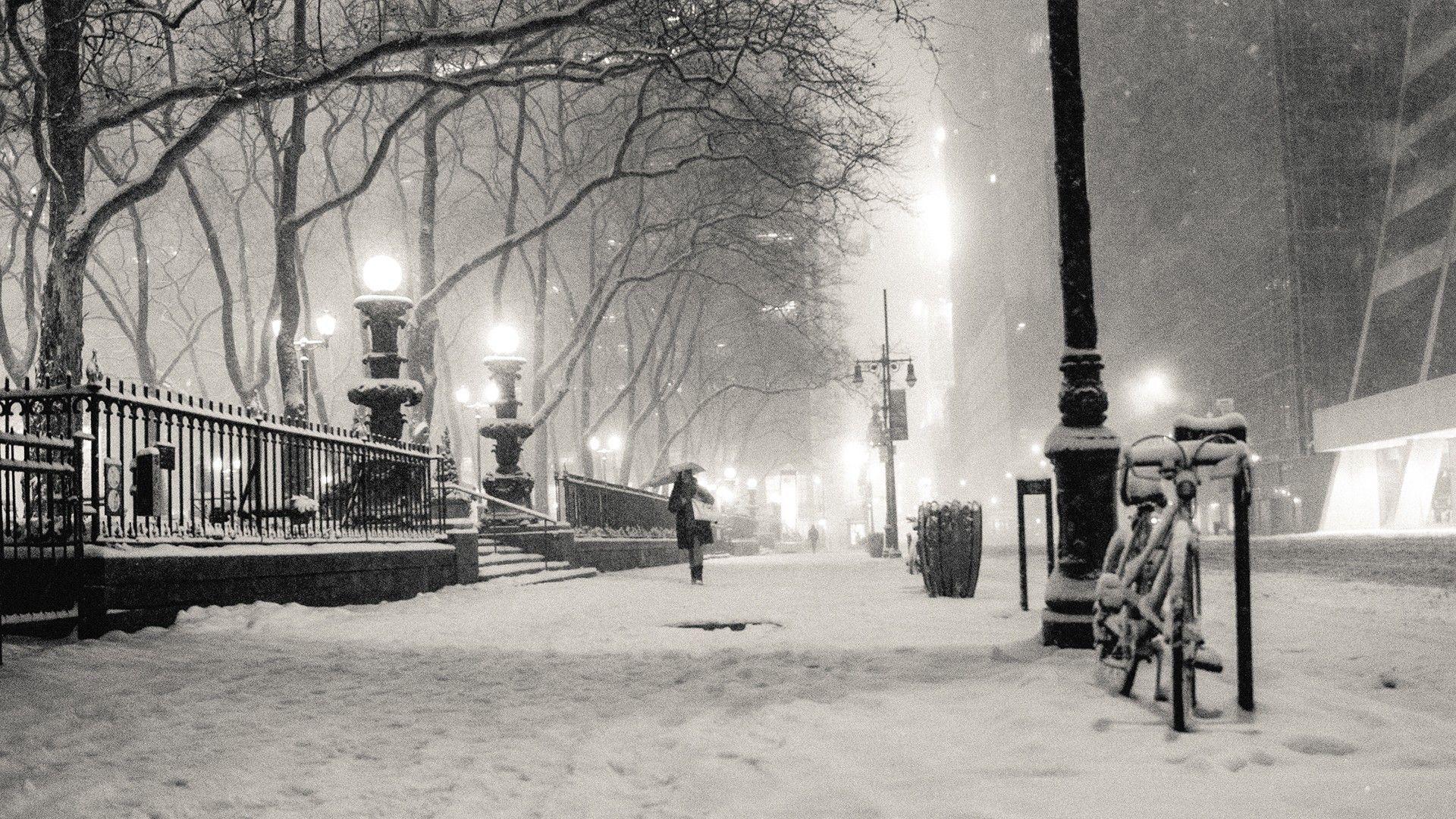 1920x1080 Black And White Winter Snow New York City Monochrome Cities Winter Background Winter Wallpaper Architecture Wallpaper
