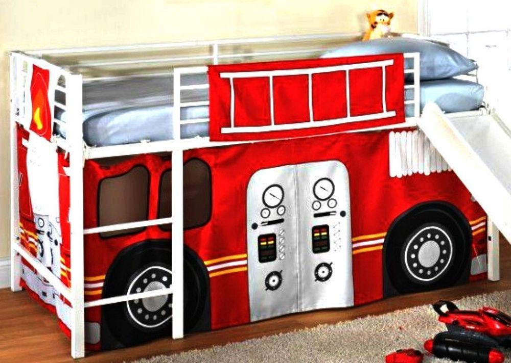 Details about Fireman Boys Firetruck BUNK BED CURTAINS SET