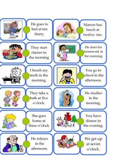 Domino DAILY ROUTINE - Kids. Present tense verbs based on daily ...