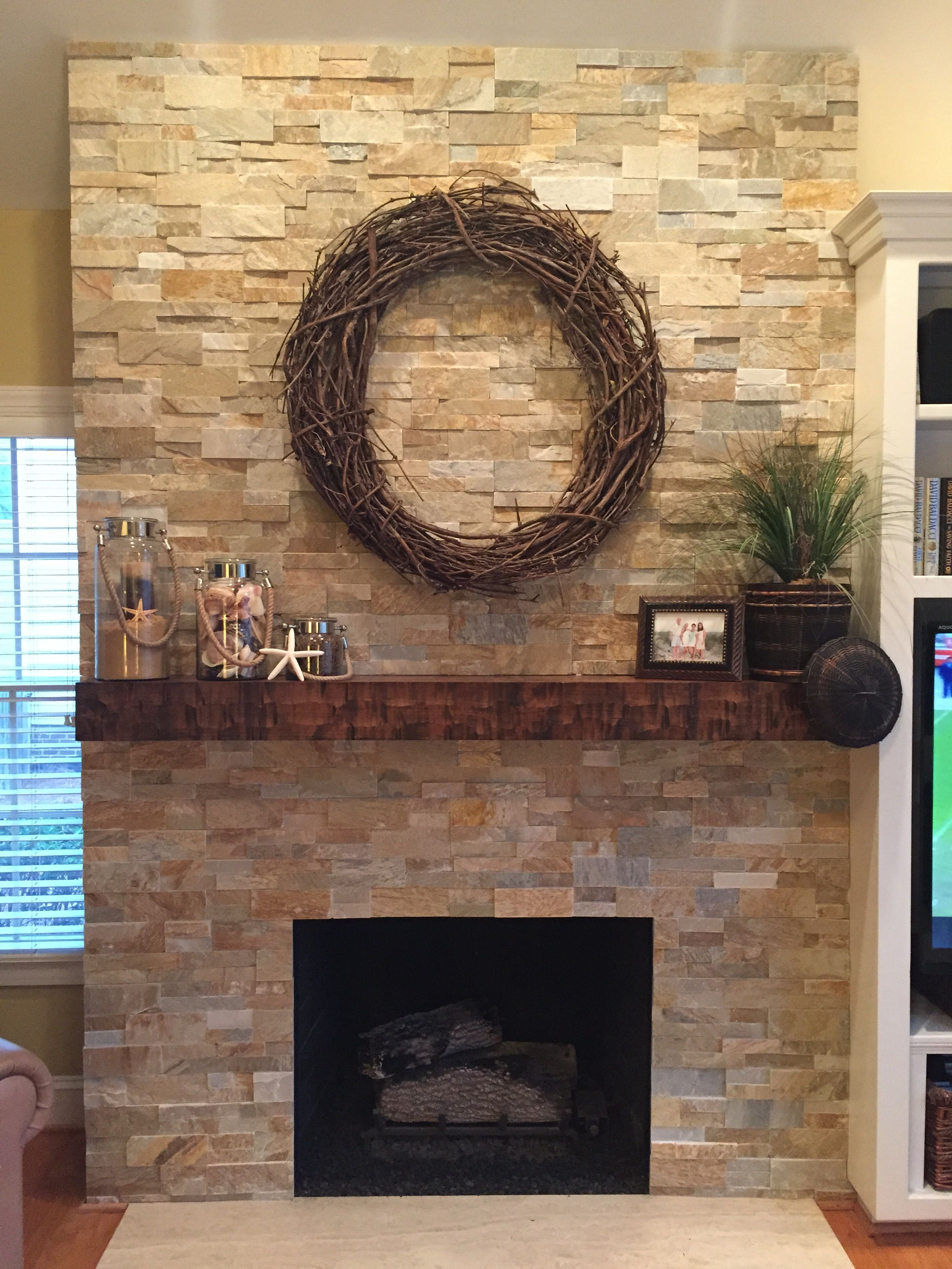 carr family fireplace wrapped in dry stacked stone veneers - How To Stone Veneer Fireplace