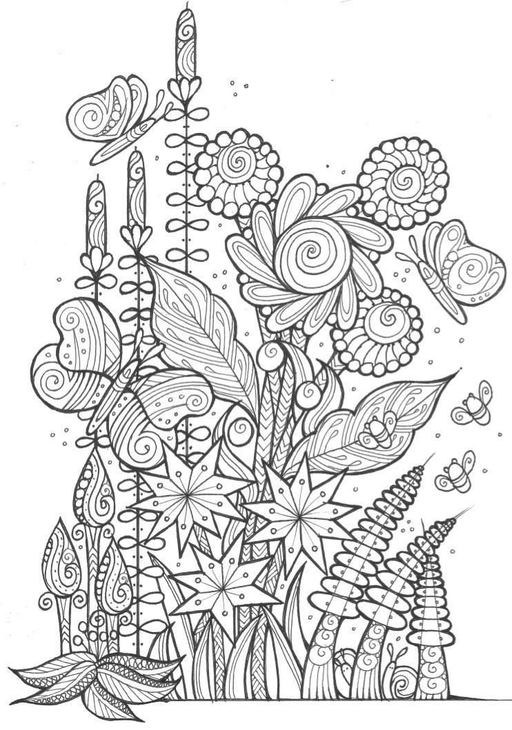 Butterflies And Bees Adult Coloring Page Butterfly Coloring Page