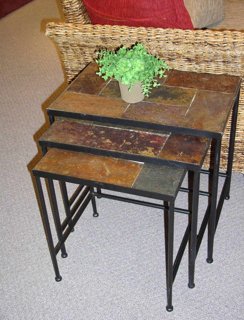 Painting Of Slate End Tables Showcasing Rustic Details Nesting