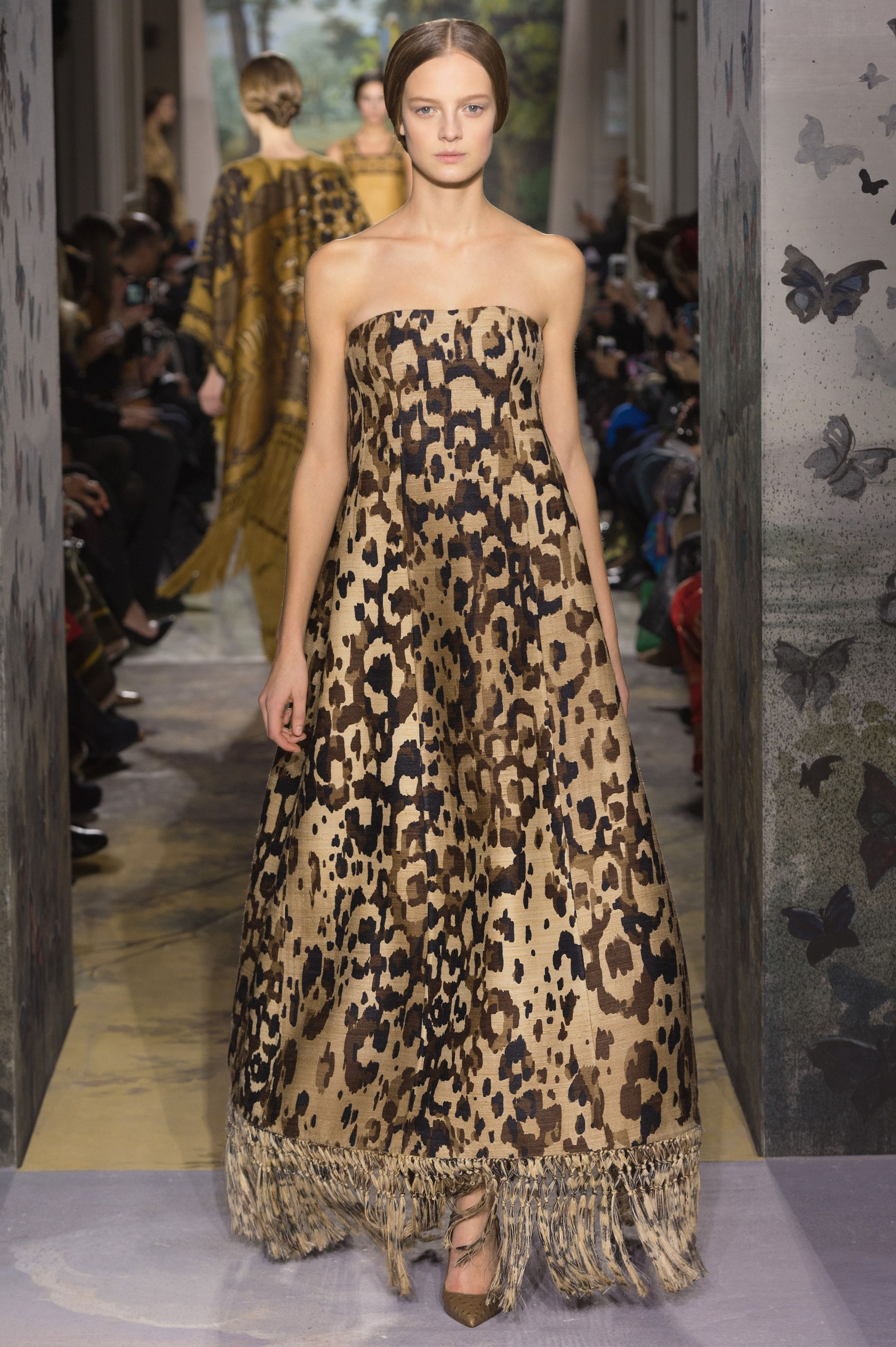 Valentino Haute Couture natural tussah silk dress with fringing and leopard  print. 021dbba9b