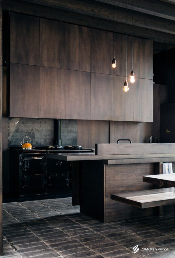 Dark And Moody Industrial Style Kitchen Stunning Timber Cabinetry