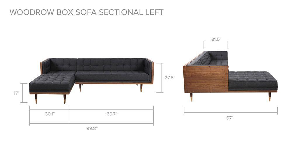 Sensational Woodrow Box Sofa Sectional Left Walnut Black Aniline Cjindustries Chair Design For Home Cjindustriesco