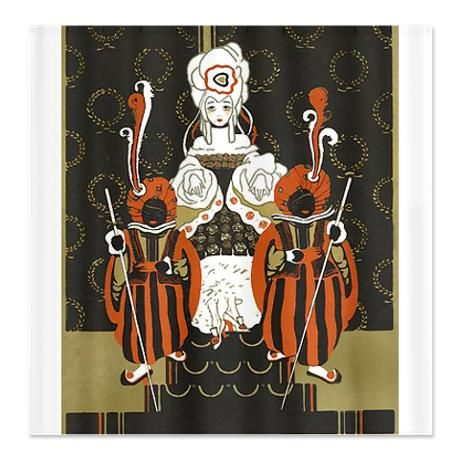 Vintage Queen Of Hearts Shower Curtain By Worldgraphics Queen Of Hearts Vintage Queen
