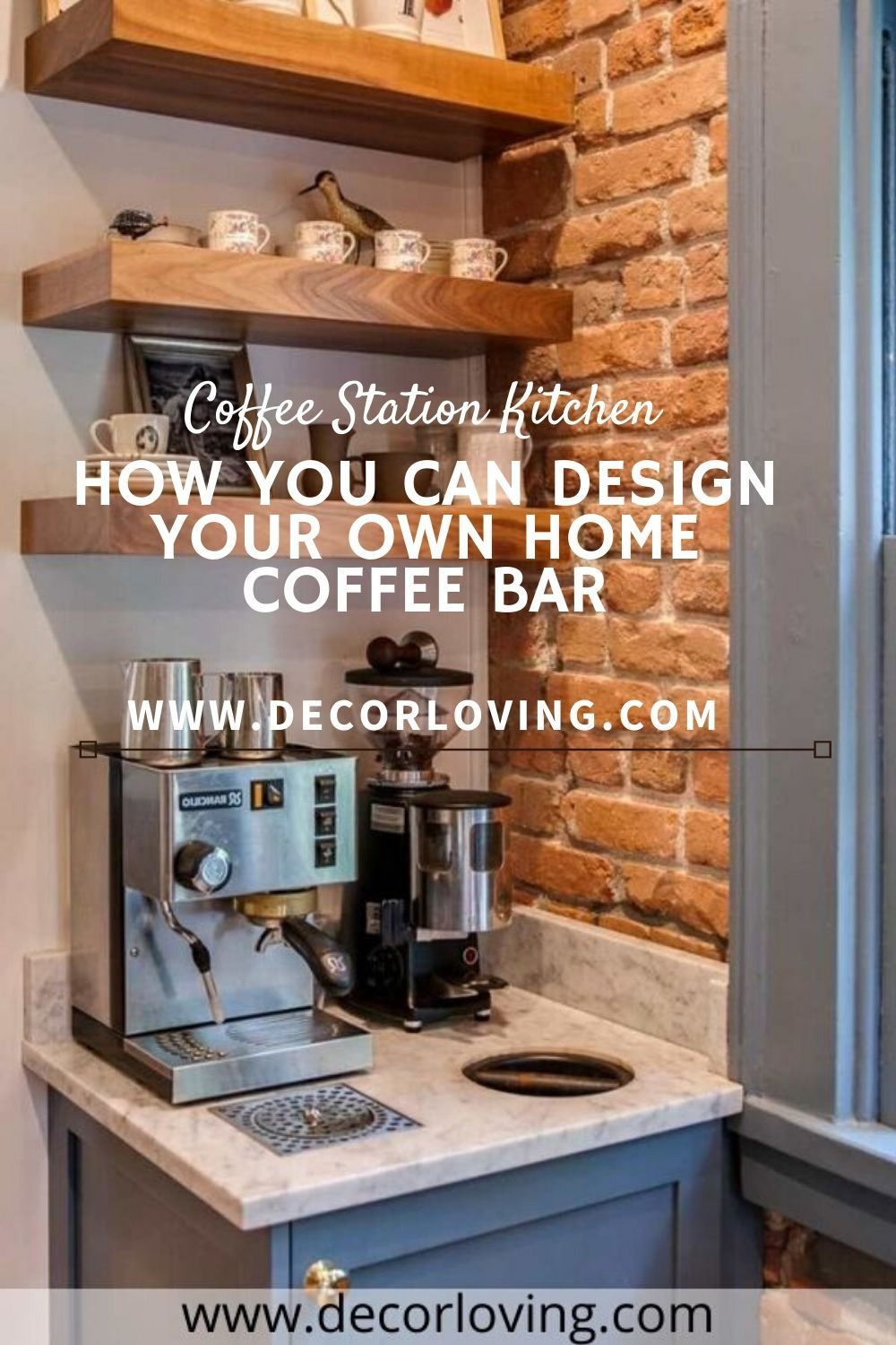 Creative and modern coffee stations and coffee bars are a wonderful option to create a little space on your work surface and make your kitchen even cozier and inviting.  #CoffeeStation #KitchenDesign #CoffeeBarIdeas #CoffeeTable #KitchenIdeas #CoffeeKitchenDecor