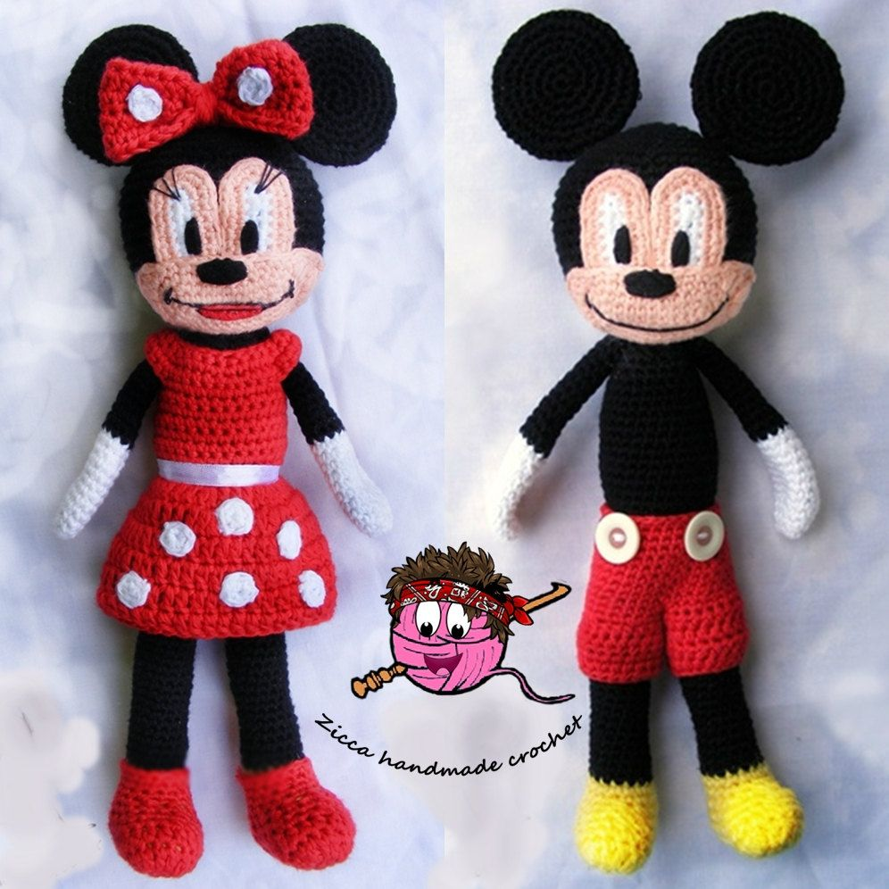 Cochet mickey mouse and minnie mouse doll pattern | Pinterest ...