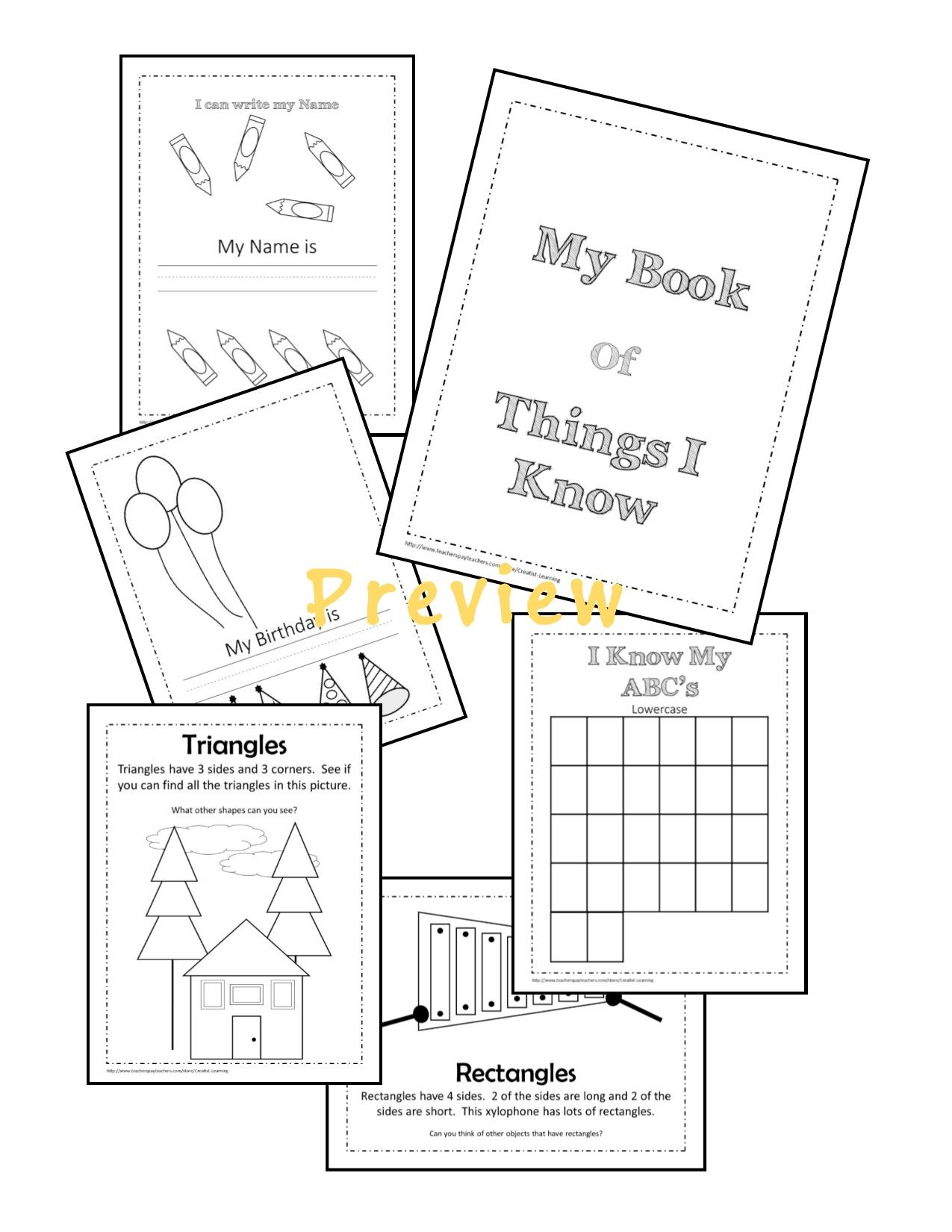 Kindergarten Printable for learning Letters, Numbers