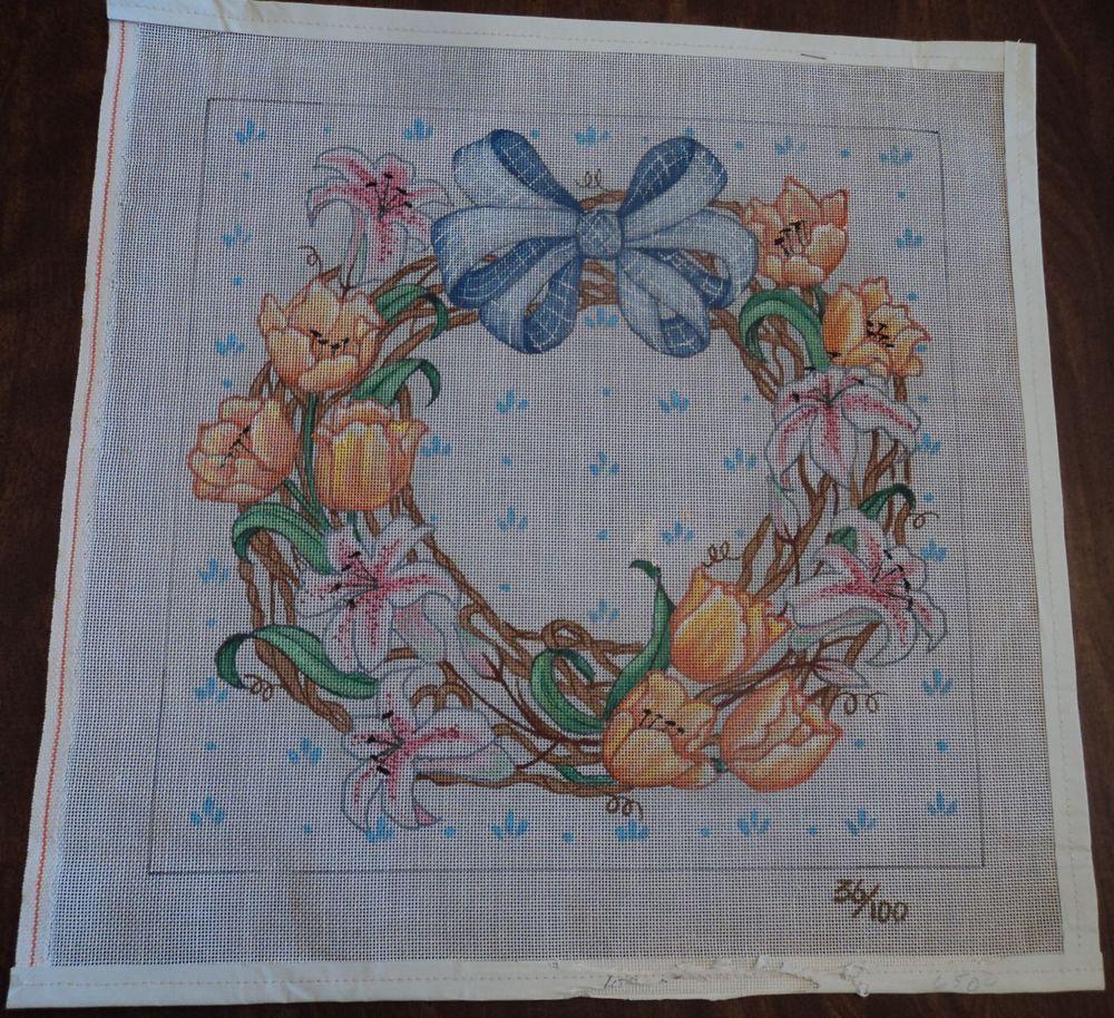 "needlepoint canvas Floral grapevine wreath 14 "" square design area"