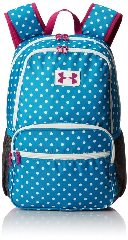 Under Armour girls school backpack / bookbag. Blue and white polka ...