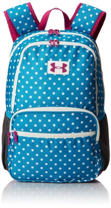 d8b80c823c Under Armour girls school backpack / bookbag. Blue and white polka dot girls  back to school backpack.
