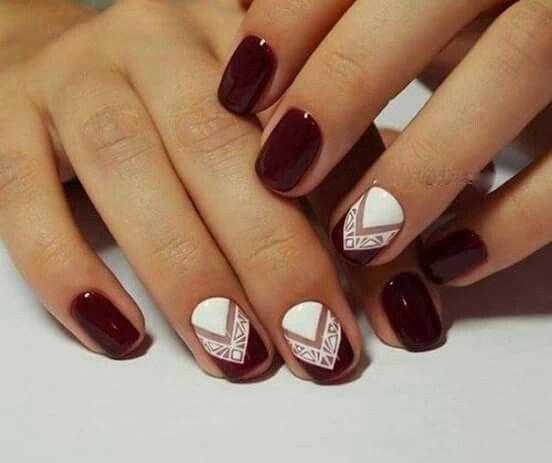 Contrast nails, Dark nails, Fall nail ideas, Fall nails Fashion nails  Geometric nails, Nails ideas Nails trends 2016 Again color not design - Pin By Георги Виктория Бомбови On Nail Design Pinterest