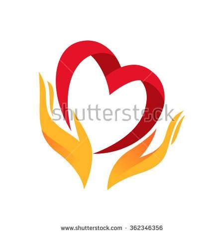 Heart In Hand Symbol Sign Icon Logo Template For Charity