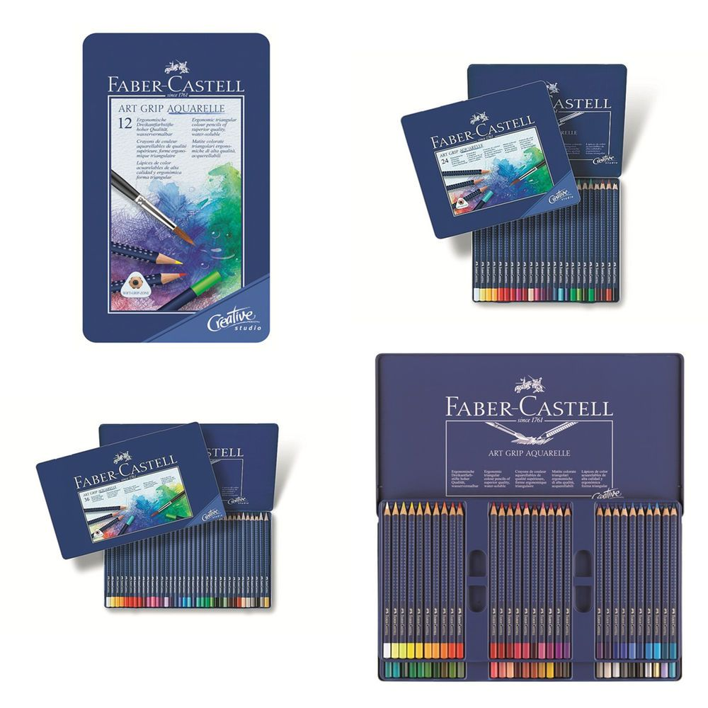 Faber Castell Watercolor Pencil Art Grip Aquarelle Tin Of 12 24