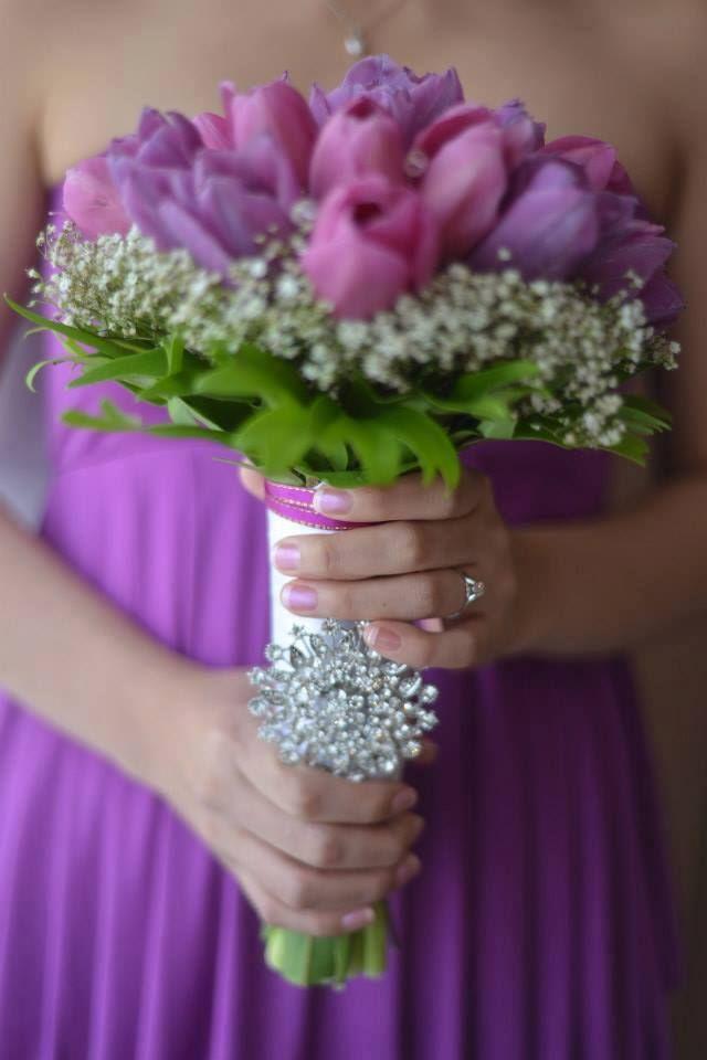Elegant Tulips Bouquet W Baby S Breath Purple Bridal Bouquet Bridal Bouquet Wedding