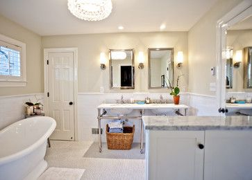 Natural Cream Benjamin Moore Walls White Vintage Fixture Bath Hex Tile Console Sink And Veined Marble