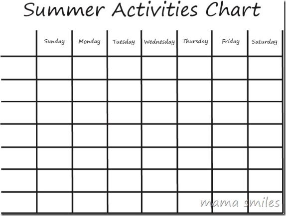 summer boredom busters kids activities chart - Printable Children Activities
