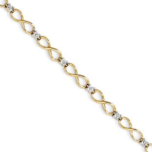 14k Gold Infinity Symbol Knot 1 4 Carat Diamond Bracelet Available Exclusively At Gemologica C Bracelets Gold Diamond Tennis Bracelet Diamond Sparkly Bracelets