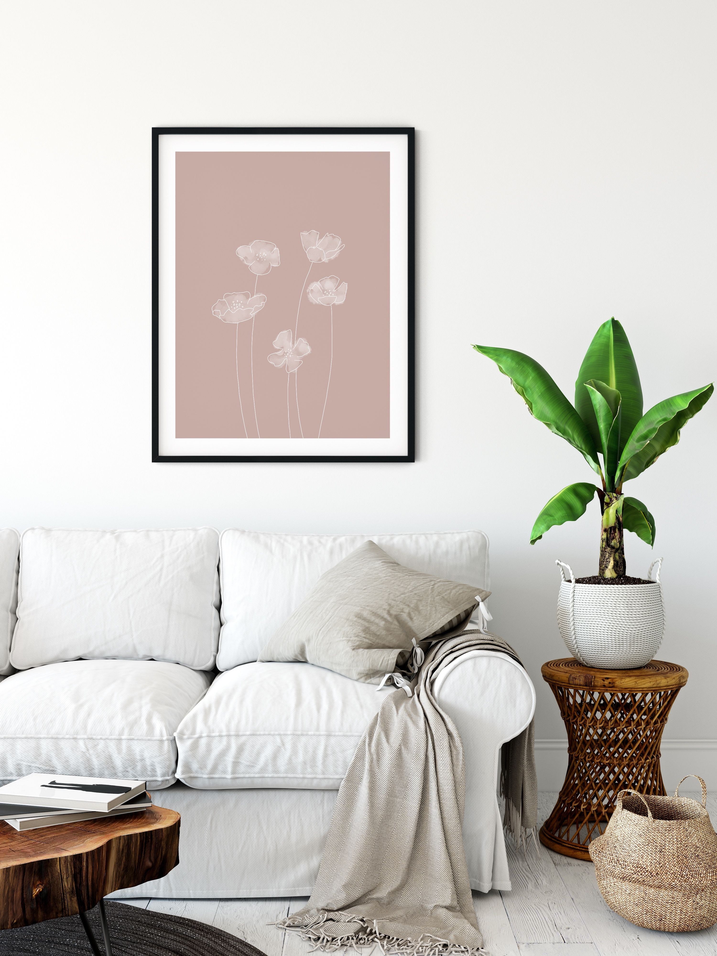 Minimalist Floral Print Instant Downloadable File Modern