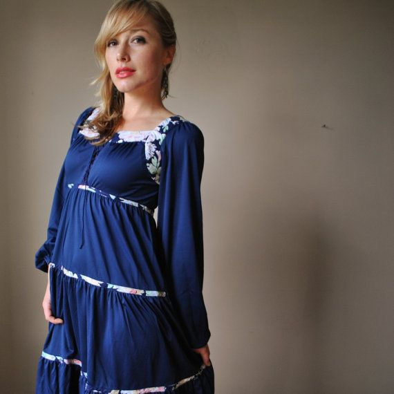 70s Navy and Floral peasant dress by salvagehouse on Etsy, $32.00