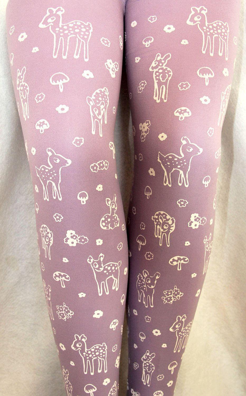 f816cd7cadc1a Deer Tights Small Medium Fawn & Mushroom Print White on Lavender Lilac  Pastel Purple Women Mori Girl Toadstool Forest Cute Retro. $27.50, via Etsy.