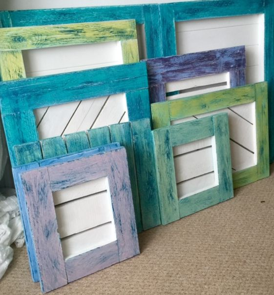 Picture frames made from pallet and scaffold board. Distressed with ...