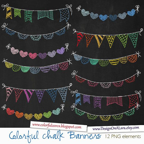 Banderas de borla de tiza de colores, arco iris tiza banners Clip Art, pizarra digital banners, banderas dibujadas a mano, banderas de cinta de tiza
