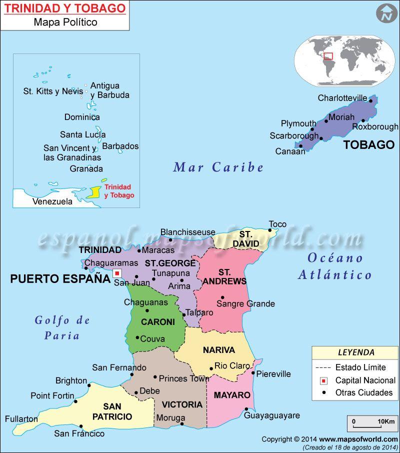 Trinidad y Tobago Mapa Learn spanish and Caribbean