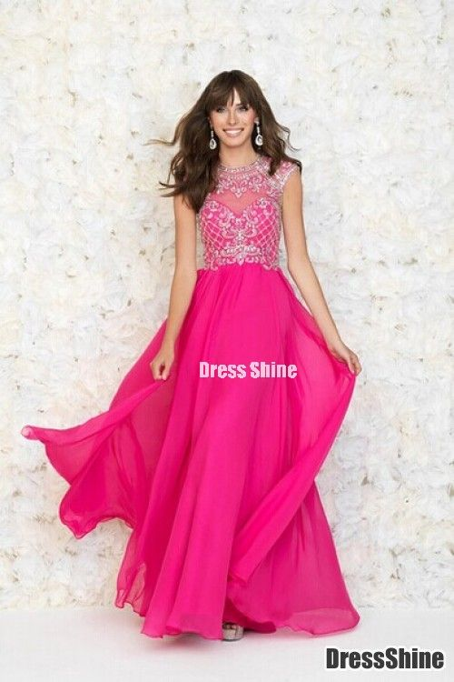 2015 New Arrival Scoop A-Line Backless Gorgeous Fuchsia Prom Dresses ...