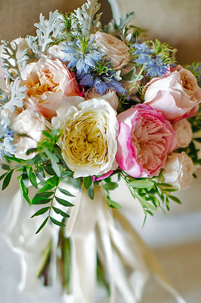 Most Por Wedding Flowers In Bridal Bouquets Peonies Or Garden Roses With Bachelor S Ons Greens And Dusty Miller