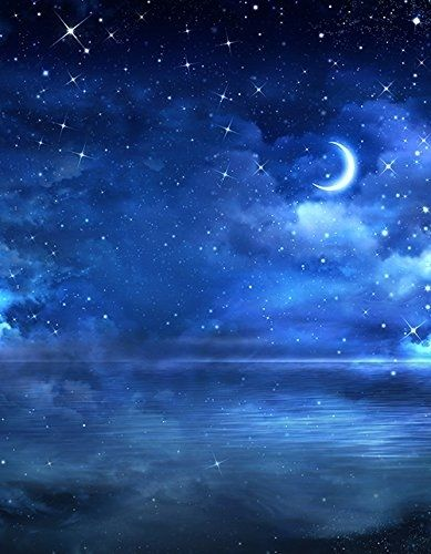 5x7ft Sparkle Star Backdrop Photography Blue Moon Night Sky Photographic