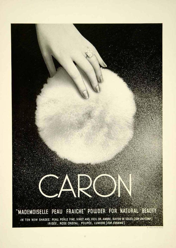 1936 Ad Caron Mademoisell Peau Fraiche Face Powder Puff Health Beauty Woman Ring