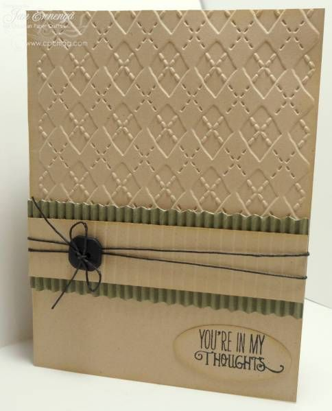 Man's card, corrugated strip and emboss background, simple