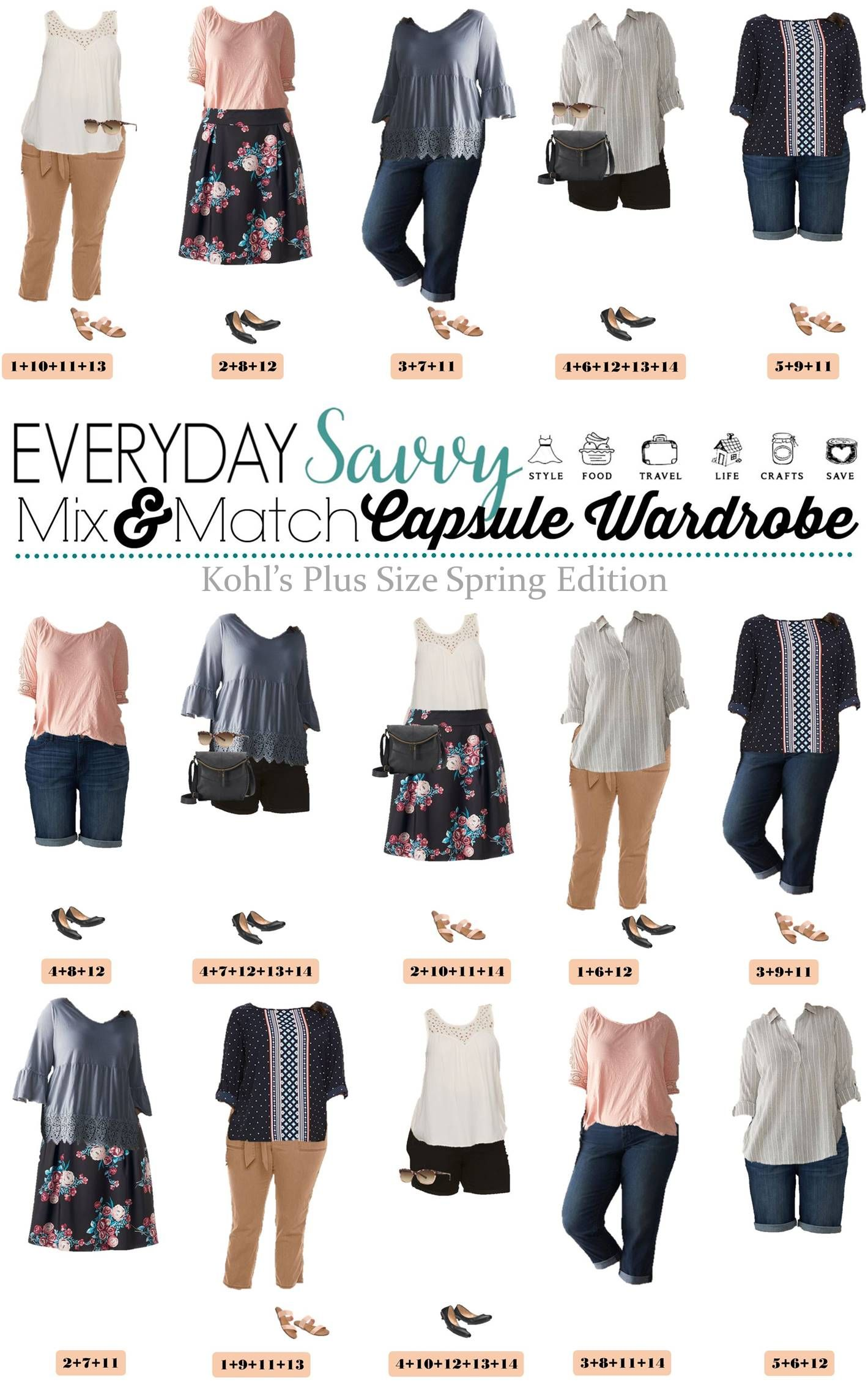 Check out these cute and affordable plus size spring outfit ideas from  Kohls. These pieces 15 and match for 15 outfits for spring. via  @everydaysavvy