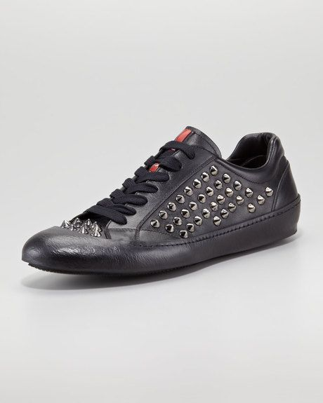 Studded Low-Top Sneaker - Prada