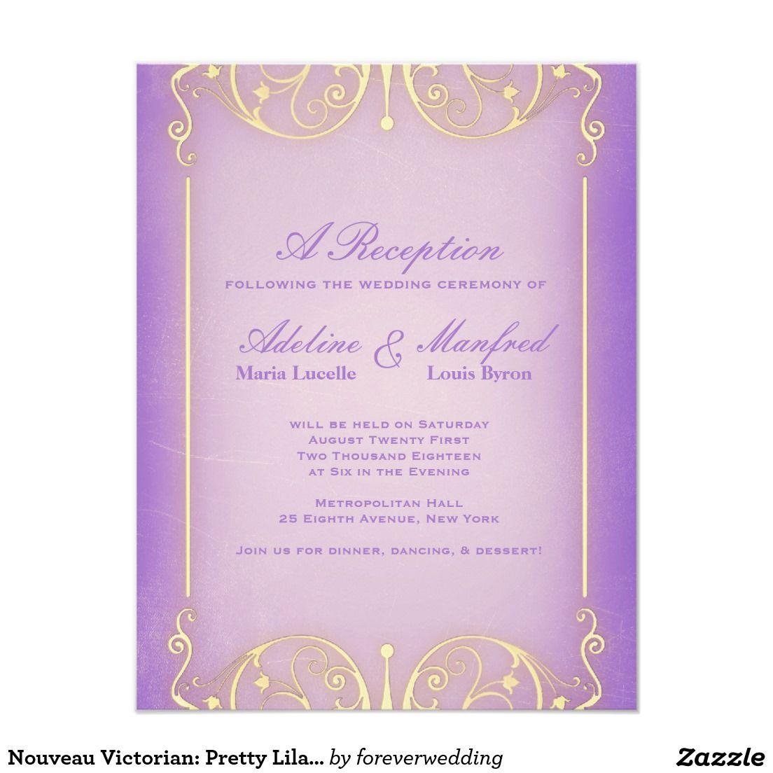 Nouveau Victorian: Pretty Lilac & Gold Wedding 4.25x5.5 Paper ...
