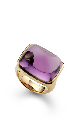 //Amethyst cabochon and 18k rose gold ring by Bucherer