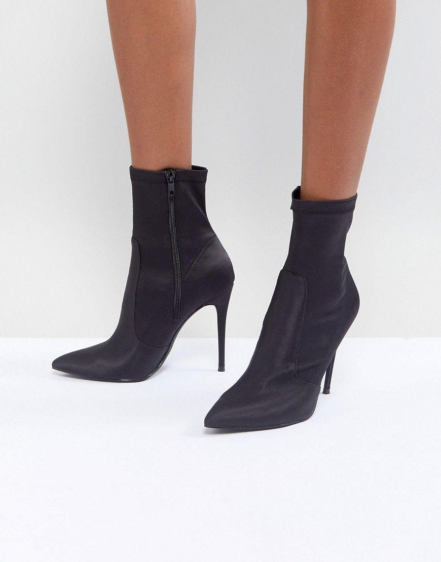 Miss Selfridge Spitze Stiefel mit hohem Schaft Schwarz