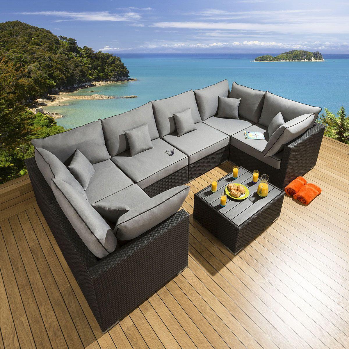 Conservatory Garden 6 Seater Corner Sofa Set Black Rattan Grey U4 Conservat In 2020 Corner Sofa Set Sofa Set Corner Sofa