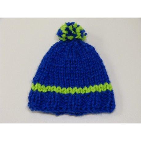 Bonnet bleu roi   vert fluo pour garçon en grosse laine b4bb34fd40b