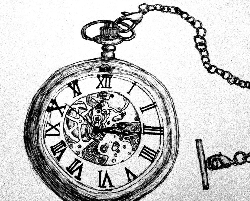 pocket watch pen drawing by wayoutofproportiondeviantart